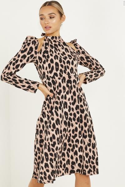 Stone Leopard Print Midi Dress